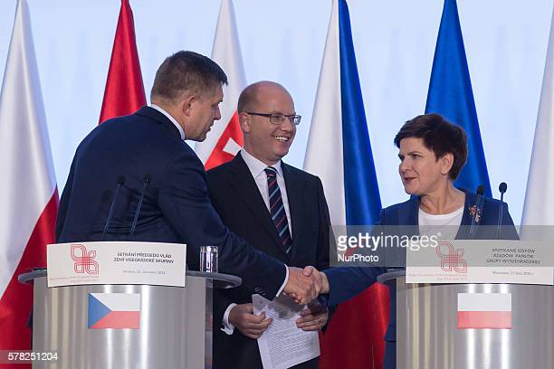 Prime Minister of Slovakia Robert Fico , Prime Minister of the Czech Republic Bohuslav Sobotka and Prime Minister of Poland Beata Szydlo during the...
