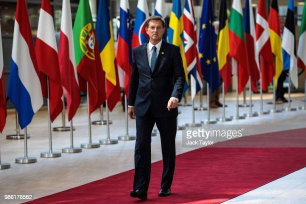 Prime Minister of Slovenia Miro Cerar arrives at the Council of the European Union on the first day of the European Council leaders' summit on June...
