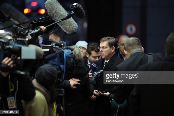 Prime Minister of Slovenia Miro Cerar arrives for the second day of the European Union leaders summit at the European Council on December 15 2017 in...