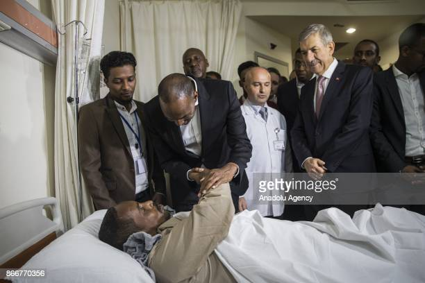 Prime Minister of Somalia Hassan Ali Khayre and Turkish Health Minister Ahmet Demircan visit the wounded Somalian victims of terror attack in Somalia...