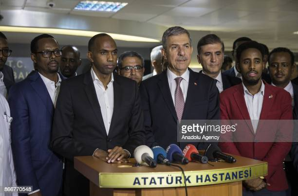 Prime Minister of Somalia Hassan Ali Khayre and Turkish Health Minister Ahmet Demircan answer the questions of press members after visiting the...