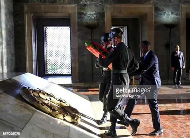 Prime Minister of Somalia Hassan Ali Khayre lays a wreath at Ataturk's mausoleum Anitkabir in Ankara Turkey on October 27 2017