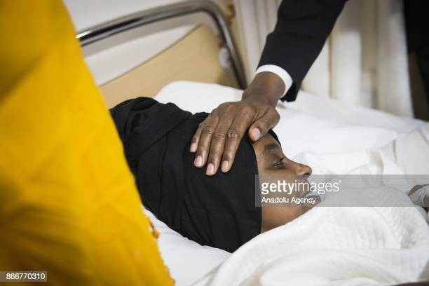 Prime Minister of Somalia Hassan Ali Khayre visits the wounded Somalian victims of terror attack in Somalia who are under treatment at Ankara Numune...