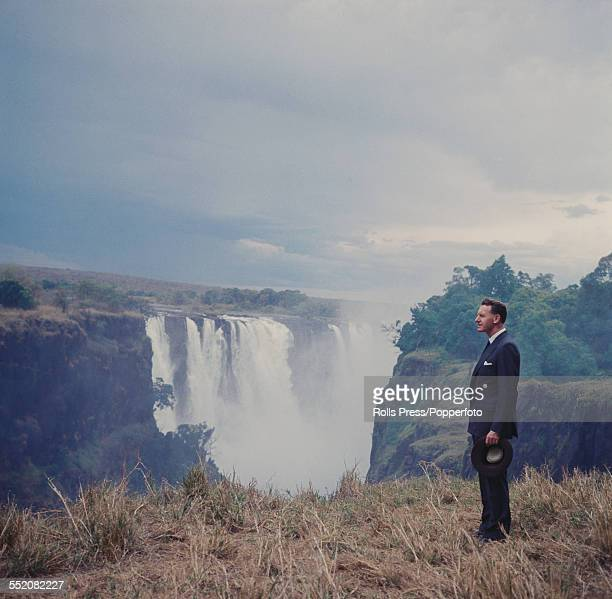 Prime Minister of Southern Rhodesia Ian Smith pictured standing beside Victoria Falls on the Zambezi river in 1965