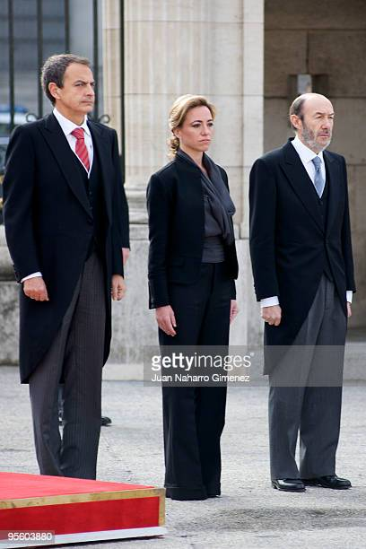 Prime Minister of Spain Jose Luis Rodriguez Zapatero, Carme Chacon and Alfredo Perez Rubalcaba attend 'Pascua Militar' at the Royal Palace on January...