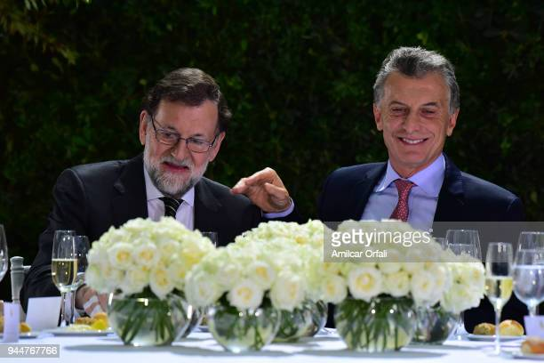 Prime Minister of Spain Mariano Rajoy and President of Argentina Mauricio Macri talk during the first day of the official visit of the president of...