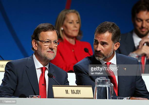 Prime Minister of Spain Mariano Rajoy and Prince Felipe of Spain in discussion during the Madrid 2020 bid presentation during the 125th IOC Session...