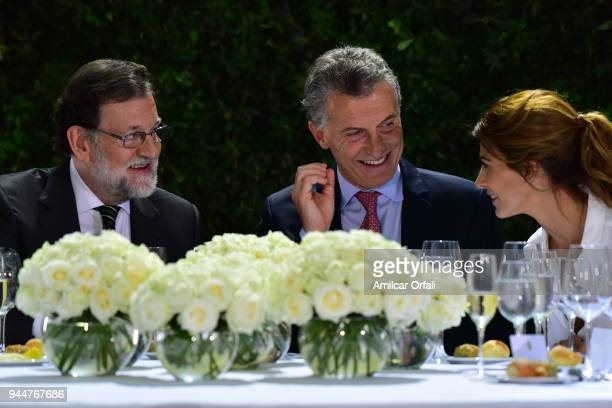 Prime Minister of Spain Mariano Rajoy President of Argentina Mauricio Macri and the First Lady Jualiana Awada talk during the first day of the...