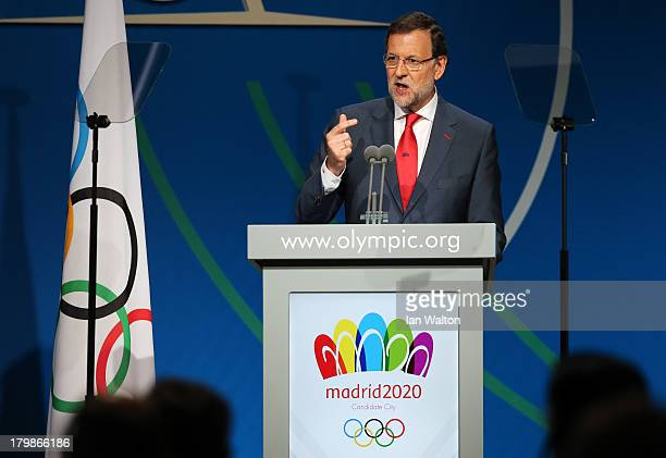 Prime Minister of Spain Mariano Rajoy speaks during the Madrid 2020 bid presentation during the 125th IOC Session 2020 Olympics Host City...