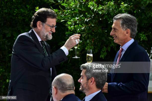 Prime Minister of Spain Mariano Rajoy toasts with President of Argentina Mauricio Macri during the first day of the official visit of the president...