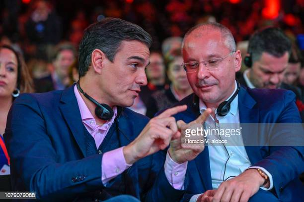Prime Minister of Spain Pedro Sanchez and President of PES Sergei Stanishev at the Party of European Socialists PES Congress 2018 on December 08 2018...