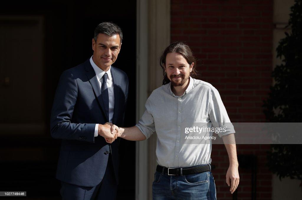Pedro Sanchez - Pablo Iglesias meeting in Madrid : News Photo