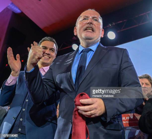 Prime Minister of Spain Pedro Sanchez applauds while Frans Timmerman PES Common Candidate Designate to preside European Commission jubilates at the...