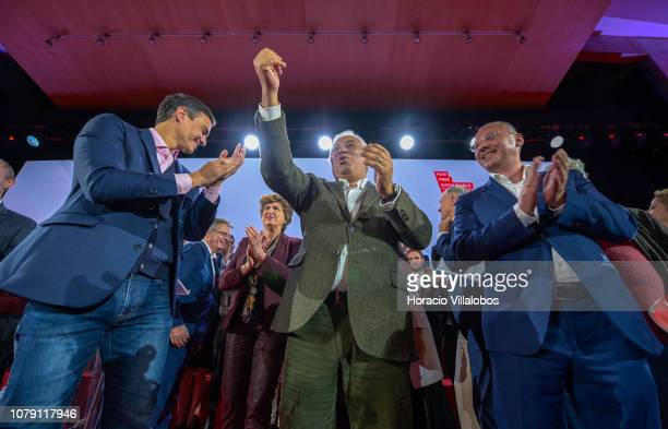 Prime Minister of Spain Pedro Sanchez Portuguese Prime Minister Antonio Costa and the President of PES Sergei Stanishev celebrate at the end Frans...