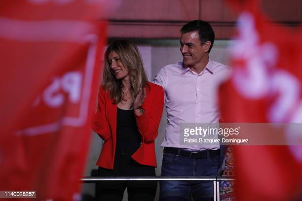 Prime Minister of Spain Pedro Sanchez with wife Maria Begona Bomez addresses supporters outside of the PSOE headquarters on April 28 2019 in Madrid...