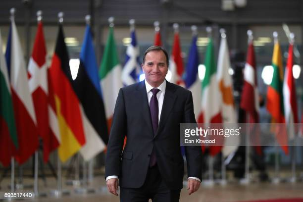 Prime Minister of Stefan Lofven arrives for the European Union leaders summit at the European Council on December 14 2017 in Brussels Belgium The...