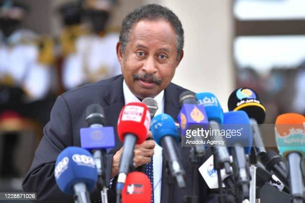 Prime Minister of Sudan Abdalla Hamdok speaks to the members of the press during the peace deal signing ceremony between government and 9 armed rebel...