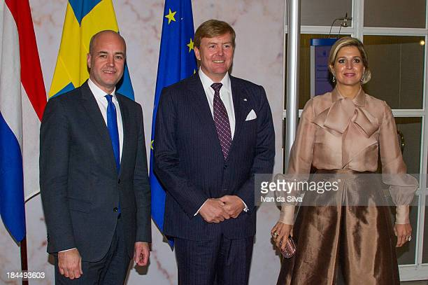 Prime Minister of Sweden Fredrik Reinfeldt King Willem Alexander of the Netherlands and Queen Maxima of the Netherlands during an official visit on...
