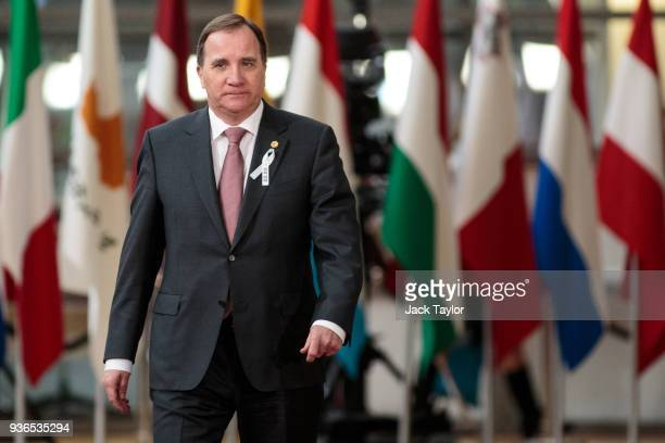 Prime Minister of Sweden Stefan Lofven arrives at the Council of the European Union for the first day of the European Council leaders' summit on...