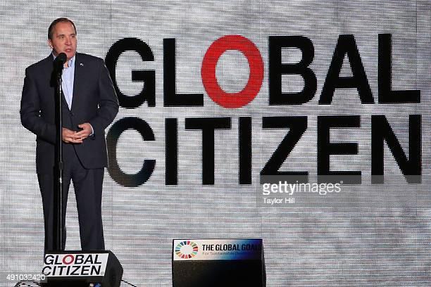 Prime Minister of Sweden Stefan Lofven speaks during the 2015 Global Citizen Festival at Central Park on September 26 2015 in New York City