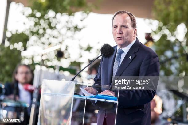 Prime Minister of Sweden Stefan Lofven speaks during the national day celebrations at Skansen on June 6 2017 in Stockholm Sweden