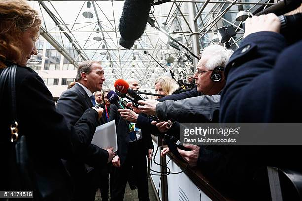 Prime Minister of Sweden Stefan Lofven speaks to the media for The European Council Meeting In Brussels held at the Justus Lipsius Building on March...