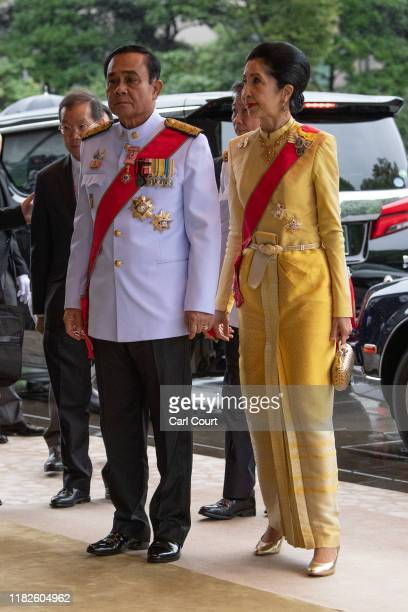 Prime Minister of Thailand Prayut Chanocha and his wife Naraporn Chanocha arrive to attend the Enthronement Ceremony Of Emperor Naruhito of Japan at...