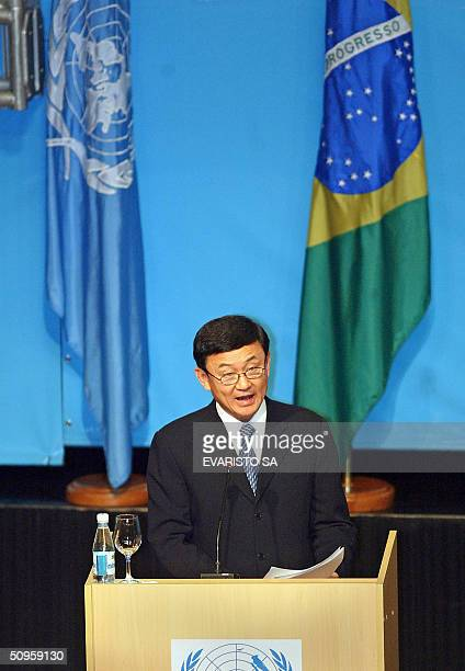 Prime Minister of Thailandia Thatksin Shinawatra addresses the opening ceremony of the XI UNCTAD conference 14 June 2004 in Sao Paulo Brazil with...