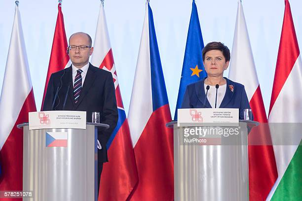 Prime Minister of the Czech Republic Bohuslav Sobotka and Prime Minister of Poland Beata Szydlo during the press conference after the meeting of...