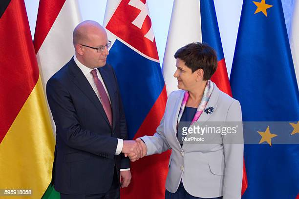 Prime Minister of the Czech Republic Bohuslav Sobotka and Prime Minister of Poland Beata Szydlo before the Meeting of Visegrad Group prime ministers...