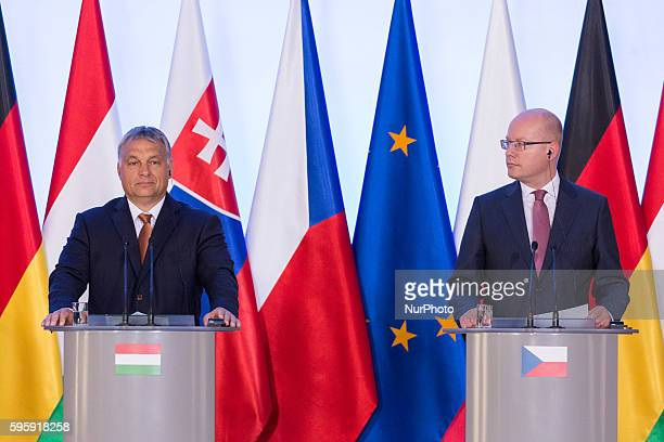 Prime Minister of the Czech Republic Bohuslav Sobotka and Prime Minister of Hungary Viktor Orban during the Meeting of Visegrad Group prime ministers...