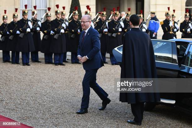 Prime Minister of the Czech Republic Bohuslav Sobotka arrives at the Elysee palace on December 12 2017 in Paris for a lunch as part of the One Planet...
