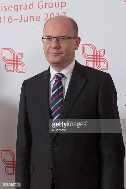Prime Minister of the Czech Republic Bohuslav Sobotka during the meeting of heads of governments of Visegrd Group countriesat at Chancellery of the...