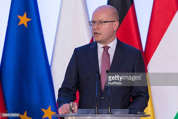 Prime Minister of the Czech Republic Bohuslav Sobotka during the Meeting of Visegrad Group prime ministers withChancellor of Germany at Chancellery...