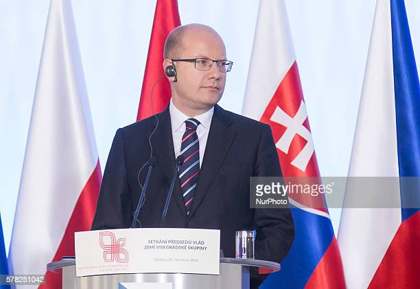 Prime Minister of the Czech Republic Bohuslav Sobotka during the press conference after the meeting of heads of governments of Visegrd Group...