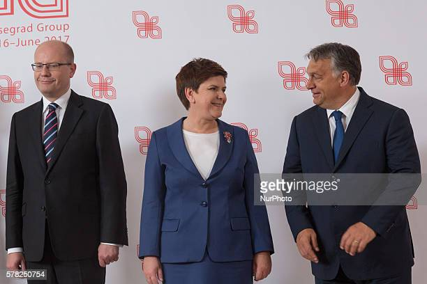 Prime Minister of the Czech Republic Bohuslav Sobotka, Prime Minister of Poland Beata Szydlo and Prime Minister of Hungary, Viktor Orban during the...