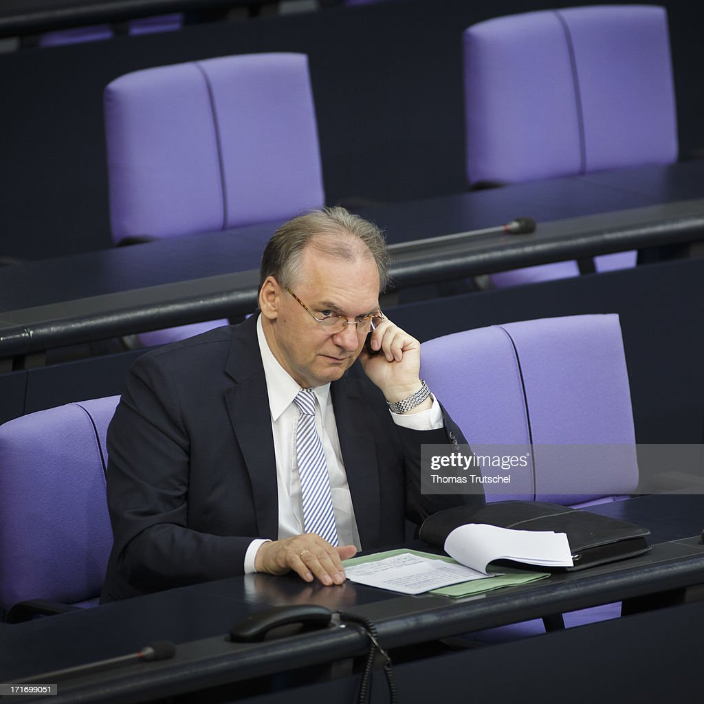 Prime minister of the German state of Saxony-Anhalt Rainer Haseloff, is pictured on his seat at Reichstag, the seat of the German Parliament (Bundestag), on June 27, 2013 in Berlin, Germany.
