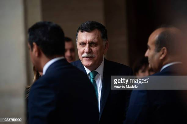 Prime Minister of the Government of National Accord of Libya Fayez al-Sarraj meets Italian Prime Minister Giuseppe Conte for their meeting at Palazzo...