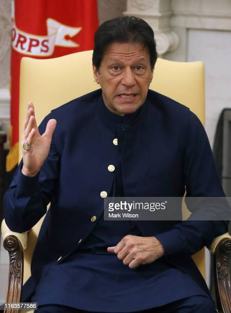 Prime Minister of the Islamic Republic of Pakistan, Imran Khan speaks at a meeeting with U.S. President Donald Trump in the Oval Office at the White...