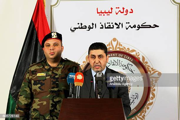 Prime Minister of the Libyan Tripolibased National Salvation Government Khalifa alGhwell informs the media during a press conference in Tripoli Libya...