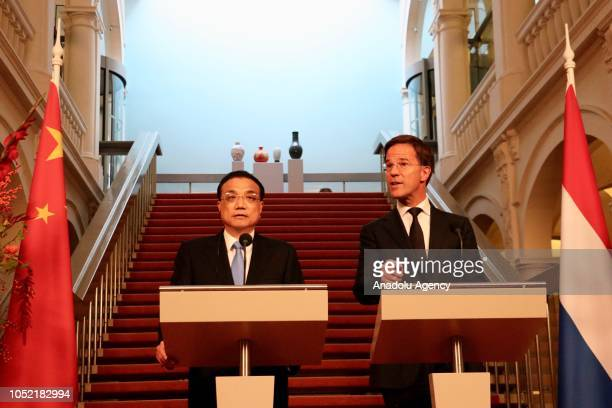 Prime Minister of the Netherlands Mark Rutte and Premier of the People's Republic of China Li Keqiang hold a joint press conference during their...