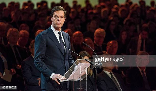 Prime Minister of the Netherlands Mark Rutte speaks during a national commemoration ceremony for relatives and friends of the victims of the Malaysia...
