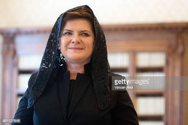 Prime Minister of the Republic of Poland Beata Szydi attends an audience with Pope Francis at the Apostolic Palace on May 13 2016 in Vatican City...