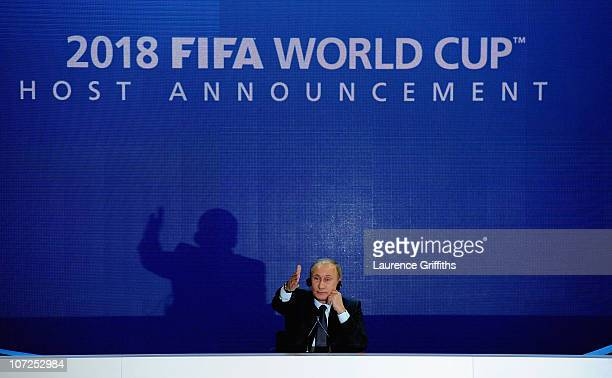 Prime Minister of the Russian Federation Vladimir Putin speaks to the media after winning the 2018 bid during the FIFA World Cup 2018 2022 Host...