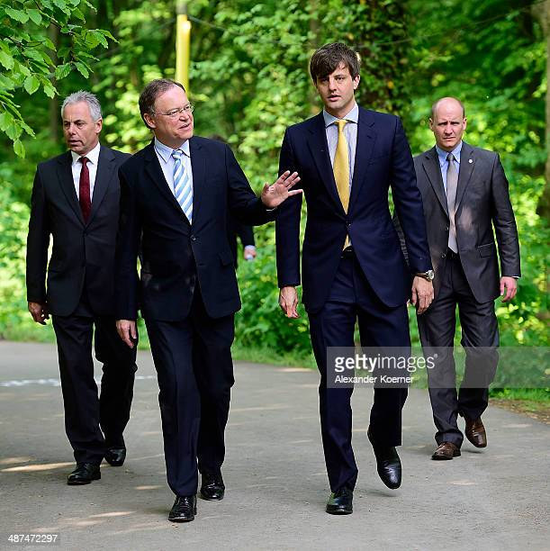 Prime Minister of the State of Lower Saxony Stephan Weil and Prince Ernst August of Hanover attend the official opening of the 'Der Weg zur Krone Das...