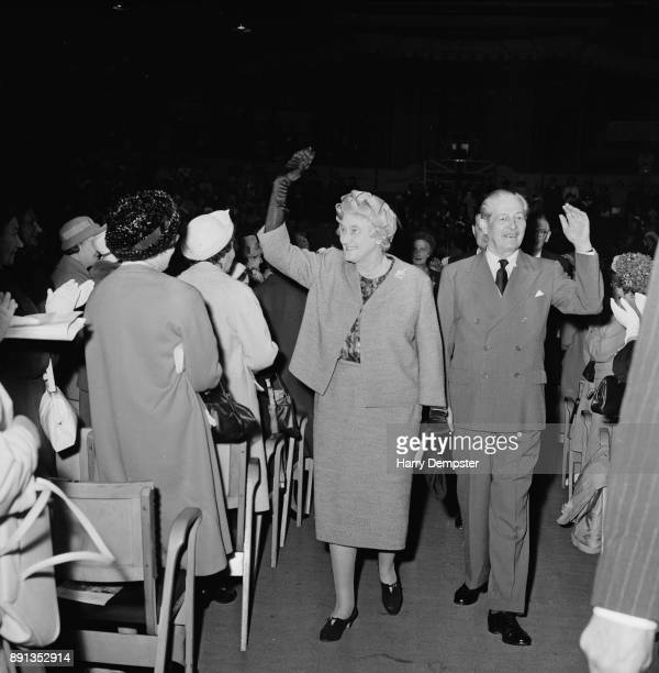 Prime Minister of the United Kingdom and Conservative party politician Harold Macmillan with wife Lady Dorothy Macmillan arrive at theConservative...