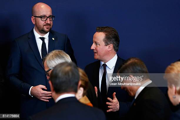 Prime Minister of the United Kingdom David Cameron and Prime Minister of Belgium Charles Michel speak during the family photo call at The European...