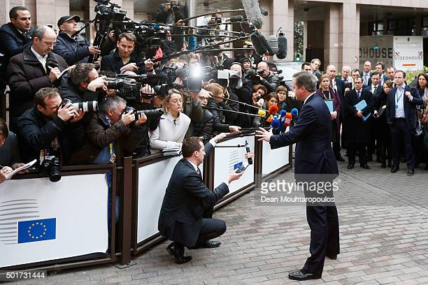 Prime Minister of the United Kingdom David Cameron arrives for The European Council Meeting In Brussels held at the Justus Lipsius Building on...