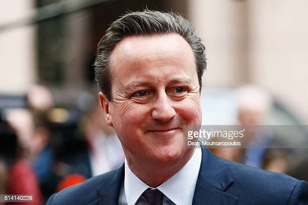 Prime Minister of the United Kingdom David Cameron arrives for The European Council Meeting In Brussels held at the Justus Lipsius Building on March...
