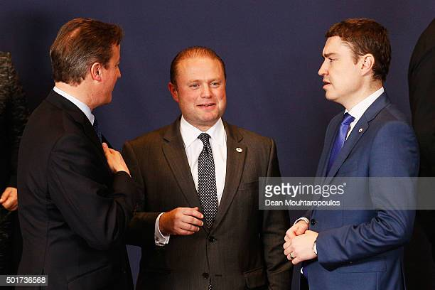 Prime Minister of the United Kingdom David Cameron speaks to the Prime Minister of Malta Joseph Muscat and the Prime Minister of Estonia Taavi Roivas...